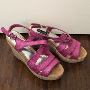 White House black market pink strap sandal shoes 7